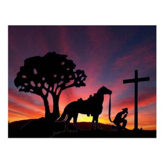Vaquero en el arte cristiano cruzado de la postal