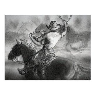Vaquero en la postal de las ilustraciones del