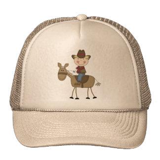 Vaquero en las camisetas y los regalos del caballo gorro de camionero