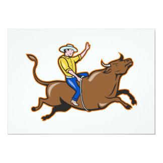 Vaquero invitaciones de una Bull que montan Invitación 12,7 X 17,8 Cm