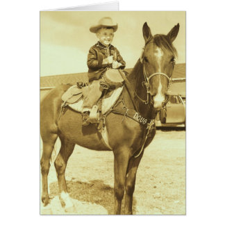 Vaquero joven occidental del vintage en tarjeta