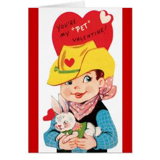 Vaquero retro con la tarjeta del el día de San