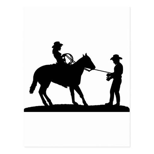 Vaquero Roping de la vaquera Tarjeta Postal