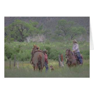 Vaquero, vaquera y perro de Colorado Felicitacion