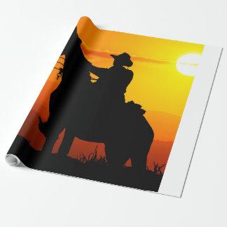 Vaquero-Vaquero-sol-occidental-país de la puesta Papel De Regalo
