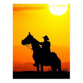 Vaquero-Vaquero-sol-occidental-país de la puesta Postal