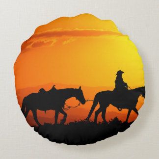 Vaquero-Vaquero-Tejas-occidental-país occidental Cojín Redondo