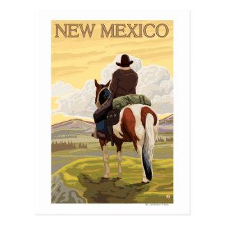 Vaquero visión desde la parte posterior New Méxi Tarjeta Postal