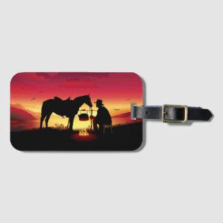 Vaquero y caballo en la etiqueta del equipaje de