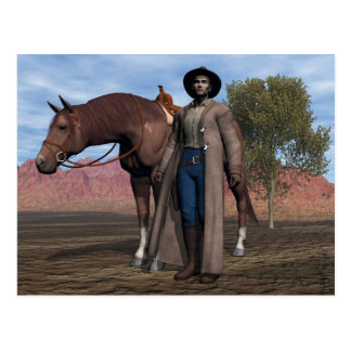 Vaquero y caballo postal