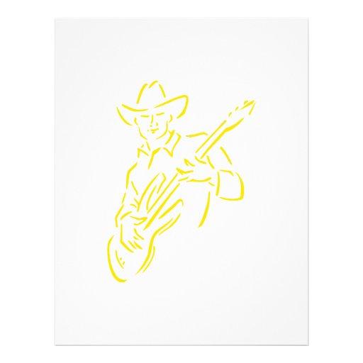 vaquero yellow.png del esquema del guitarrista tarjeta publicitaria