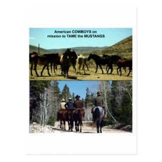 Vaqueros americanos en viaje a los caballos del postal