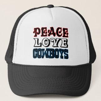 Vaqueros del amor de la paz gorra de camionero