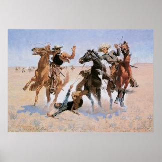 Vaqueros del vintage, ayudando a un camarada por póster