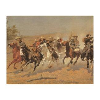 Vaqueros del vintage, una rociada para la madera cuadros de madera
