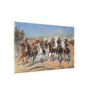 Vaqueros del vintage, una rociada para la madera impresión en lienzo