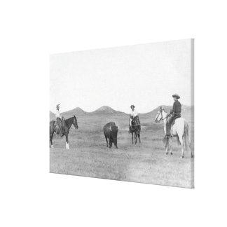 Vaqueros en los caballos Roping la fotografía del  Impresiones De Lienzo