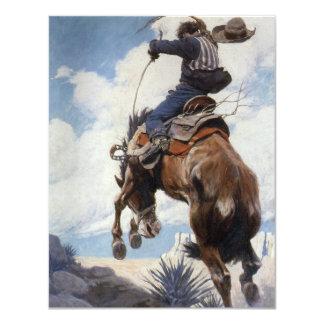 Vaqueros occidentales del vintage, Bucking por NC Invitación 10,8 X 13,9 Cm