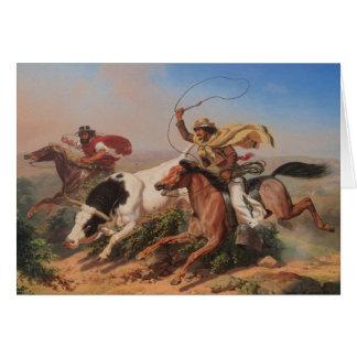 Vaqueros Roping un buey Tarjeton