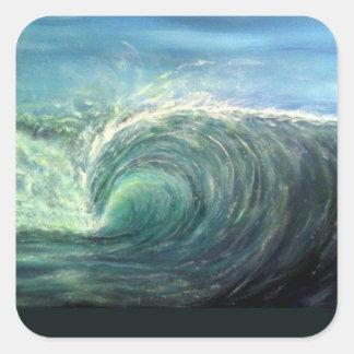vare la onda, sitio verde, rizo del rasgón pegatina cuadrada