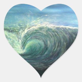 vare la onda, sitio verde, rizo del rasgón pegatina en forma de corazón