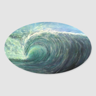 vare la onda, sitio verde, rizo del rasgón pegatina ovalada
