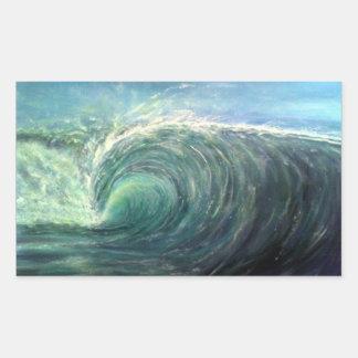 vare la onda, sitio verde, rizo del rasgón pegatina rectangular