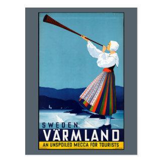 Varmland, poster del viaje del vintage de Suecia Postal