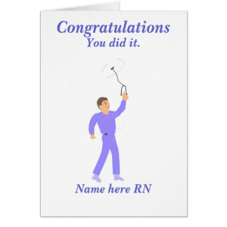 Varón de la enfermera registradoa de la graduación tarjetón