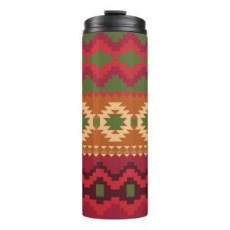 Vaso azteca rojo la termal del modelo del verde y