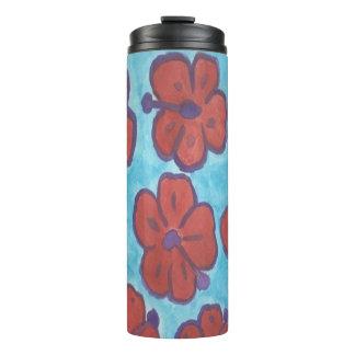 Vaso azul y rojo del hibisco