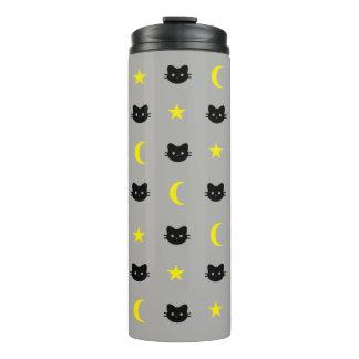Vaso de la luna del gato del gatito y la termal de