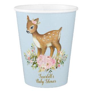 Vaso De Papel Azul floral del oro del rosa de la taza de papel