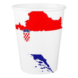 Vaso De Papel Bandera y mapa de Croacia