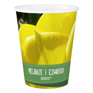 Vaso De Papel Boda amarillo de la flor del tulipán