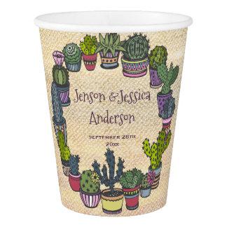 Vaso De Papel Boda colorido personalizado del cactus