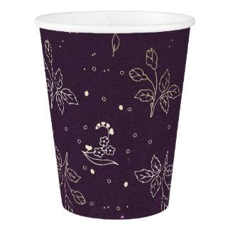 Vaso De Papel Boda floral púrpura del vintage del oro y del