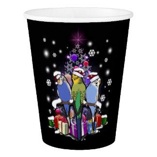 Vaso De Papel Budgerigars con el navidad regalo y copos de nieve