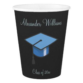 Vaso De Papel Casquillo azul de la graduación