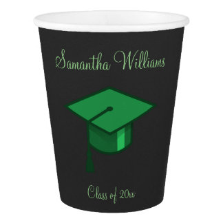 Vaso De Papel Casquillo verde de la graduación