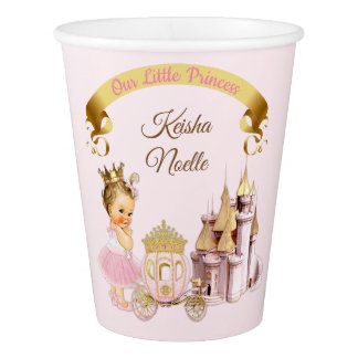 Vaso De Papel Chica real de princesa Castle Carriage Pink Gold