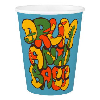 Vaso De Papel color del reggae del tambor y del bajo - logotipo,