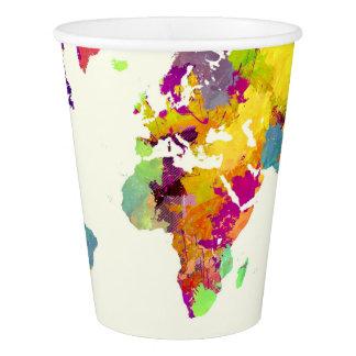 Vaso De Papel colores del mapa del mundo