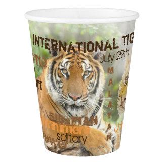 Vaso De Papel Día internacional del tigre, el 29 de julio, arte