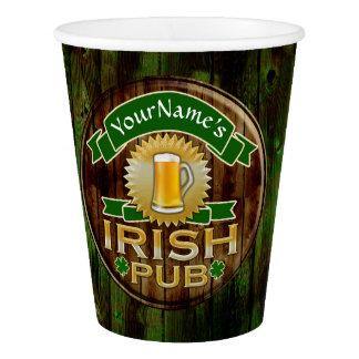Vaso De Papel Día irlandés del St Patricks de la muestra del Pub