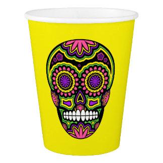 Vaso De Papel Día mexicano colorido del cráneo del azúcar de los
