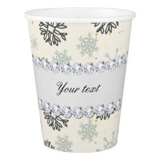 Vaso De Papel El oro azul de los copos de nieve protagoniza los