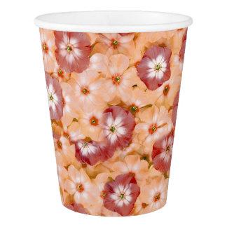 Vaso De Papel Estampado de flores anaranjado del Phlox del