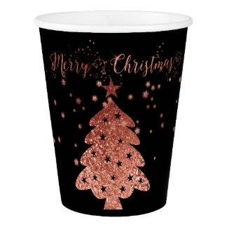 Vaso De Papel Felices Navidad negras y diseños elegantes rosados