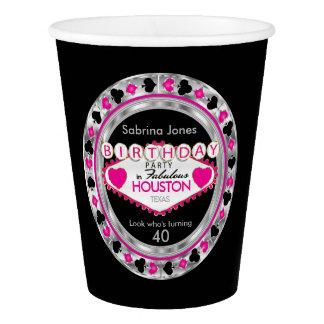 Vaso De Papel Fiesta de cumpleaños rosada de la ficha de póker
